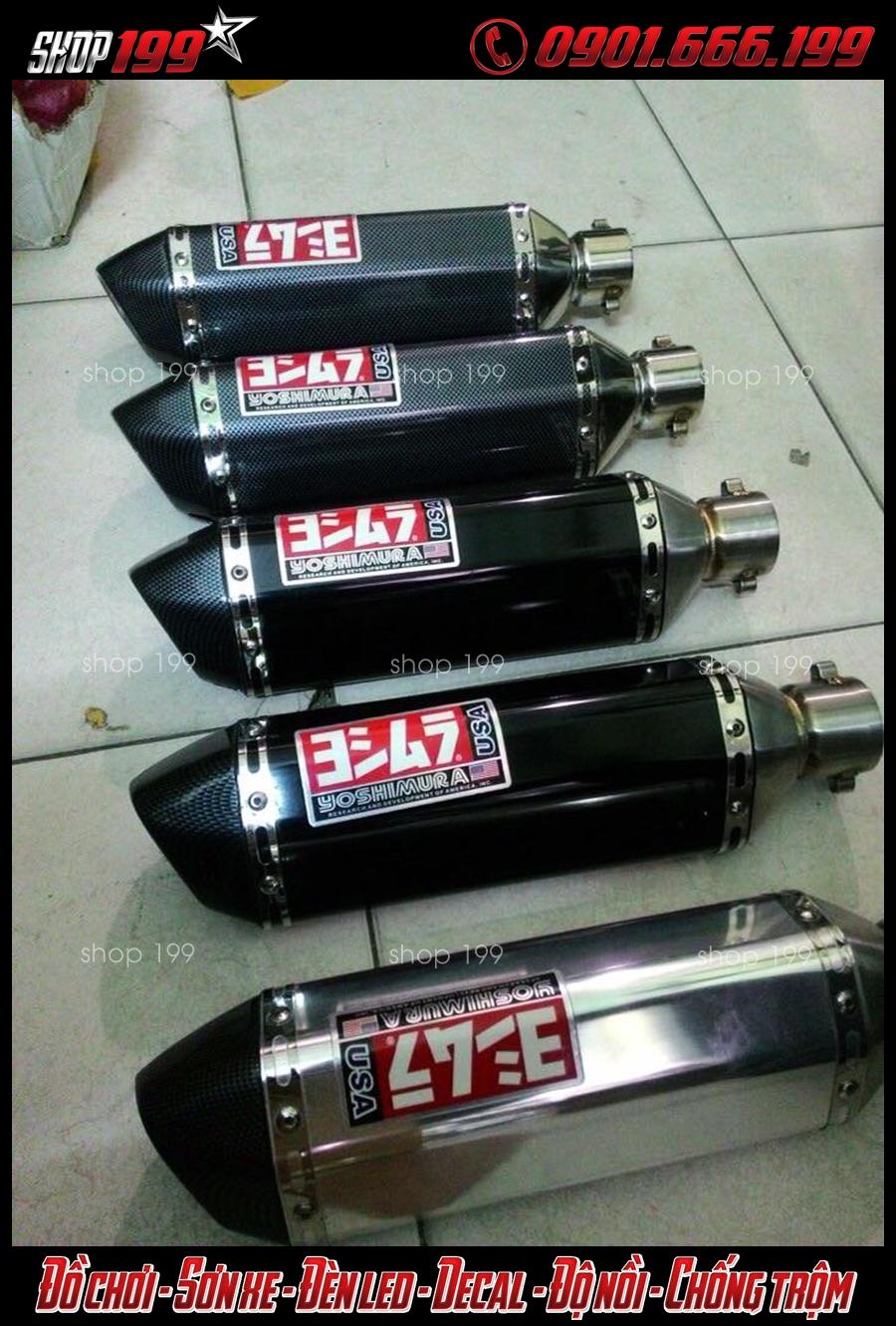 Pô Yoshimura màu bạc, carbon, màu đen độ đẹp và chất tại HCM cho xe HOnda SH
