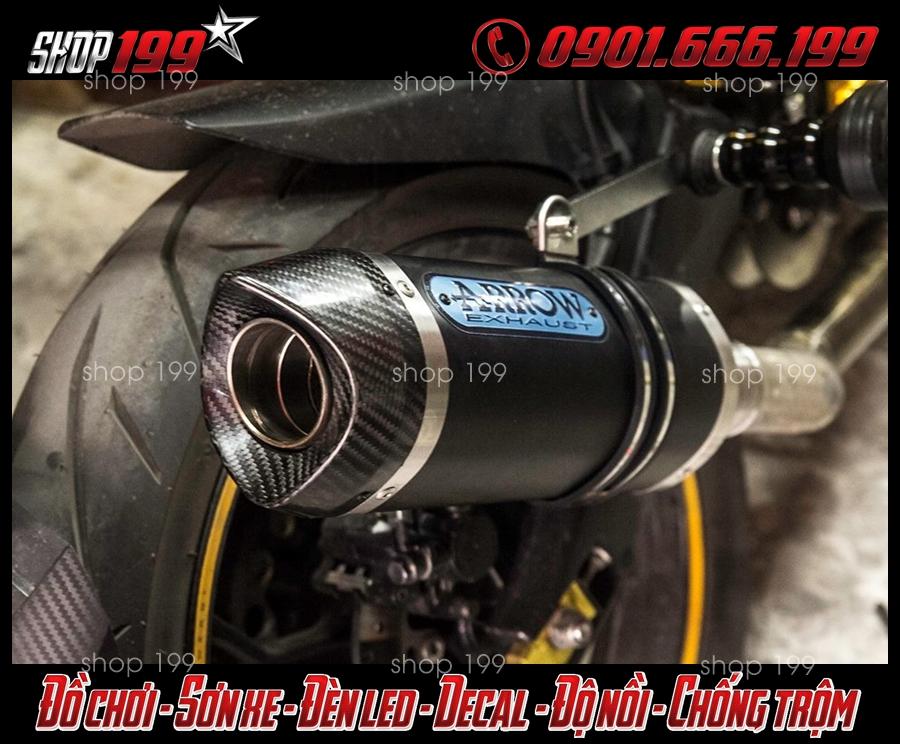 Hình ảnh pô Arrow màu đen độ chất cho xe Yamaha TFX 150i