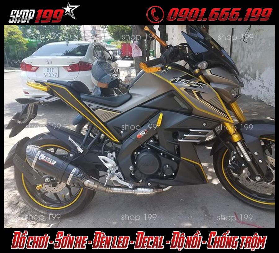 Hình ảnh Yamaha TFX 150i màu xám vàng độ pô Mivv cực ngầu và đẳng cấp